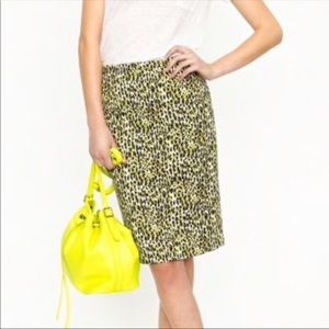 NWT J. Crew Lime Abstract Leopard Pencil Skirt